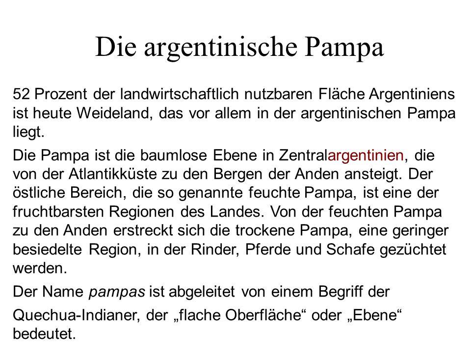 Die argentinische Pampa 52 Prozent der landwirtschaftlich nutzbaren Fläche Argentiniens ist heute Weideland, das vor allem in der argentinischen Pampa
