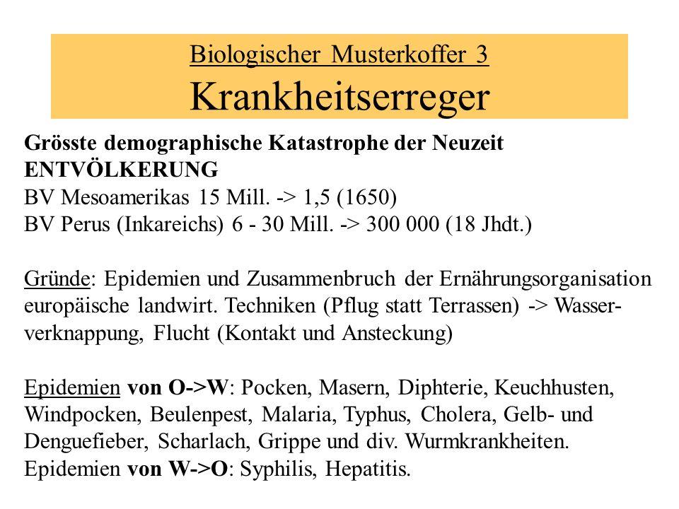 Biologischer Musterkoffer 3 Krankheitserreger Grösste demographische Katastrophe der Neuzeit ENTVÖLKERUNG BV Mesoamerikas 15 Mill. -> 1,5 (1650) BV Pe