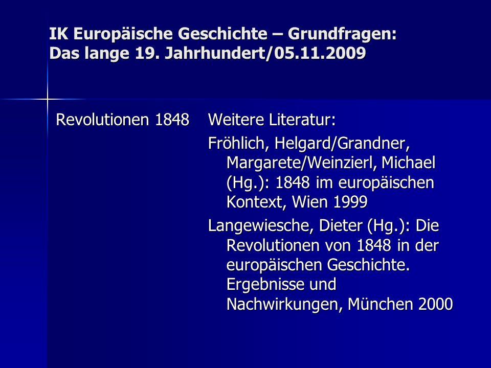 IK Europäische Geschichte – Grundfragen: Das lange 19.