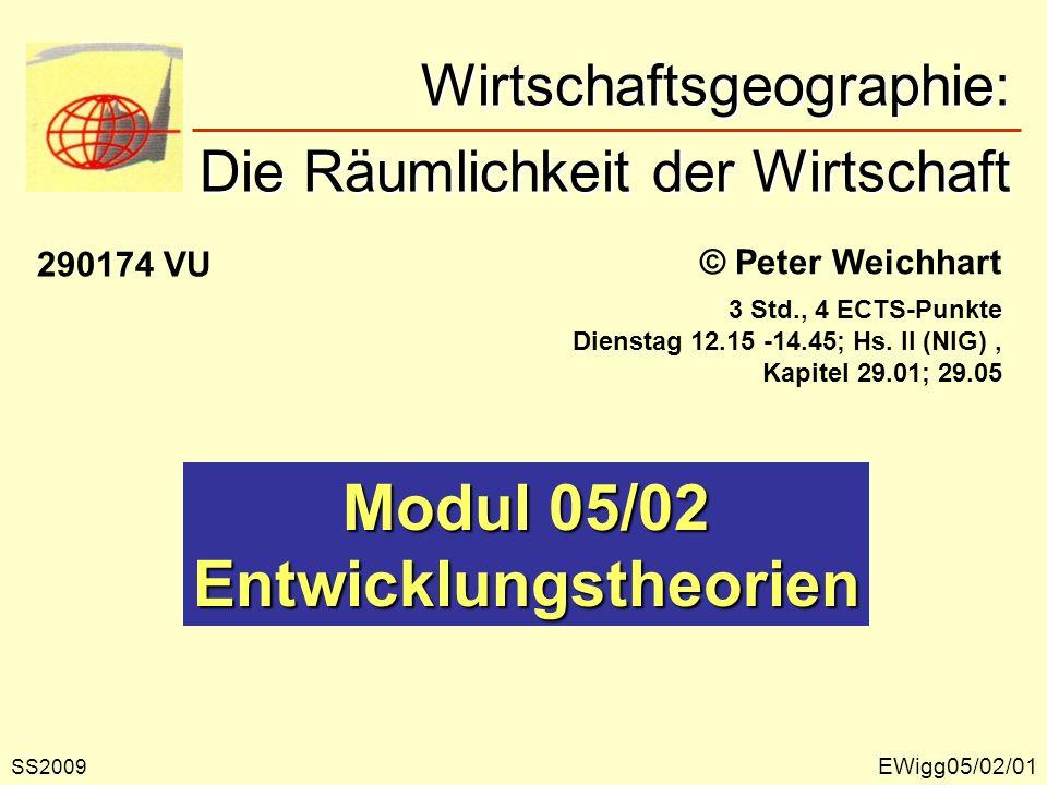EWigg05/02/01 © Peter Weichhart Modul 05/02 Entwicklungstheorien Wirtschaftsgeographie: Die Räumlichkeit der Wirtschaft Wirtschaftsgeographie: Die Räu