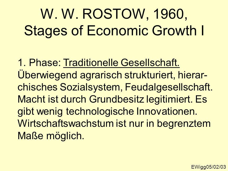W. W. ROSTOW, 1960, Stages of Economic Growth I EWigg05/02/03 1.Phase: Traditionelle Gesellschaft. Überwiegend agrarisch strukturiert, hierar- chische