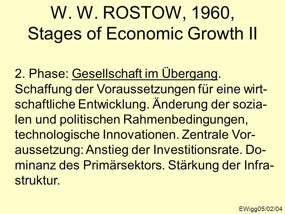 EWigg05/02/04 W. W. ROSTOW, 1960, Stages of Economic Growth II 2. Phase: Gesellschaft im Übergang. Schaffung der Voraussetzungen für eine wirt- schaft