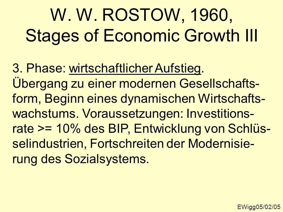 EWigg05/02/05 W. W. ROSTOW, 1960, Stages of Economic Growth III 3. Phase: wirtschaftlicher Aufstieg. Übergang zu einer modernen Gesellschafts- form, B