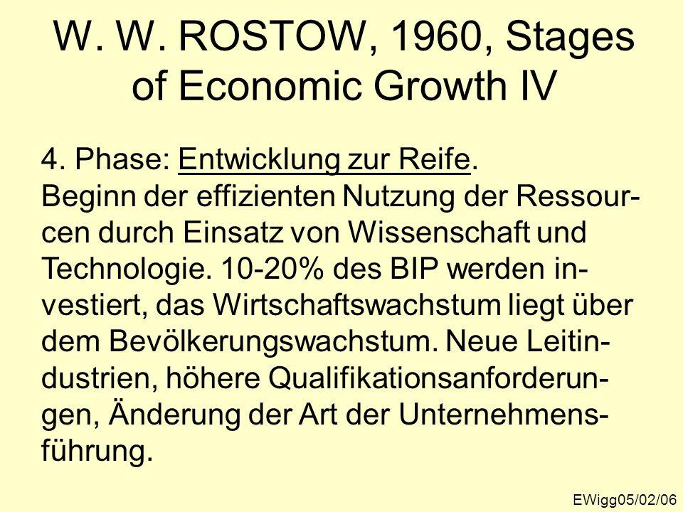 EWigg05/02/06 W. W. ROSTOW, 1960, Stages of Economic Growth IV 4. Phase: Entwicklung zur Reife. Beginn der effizienten Nutzung der Ressour- cen durch