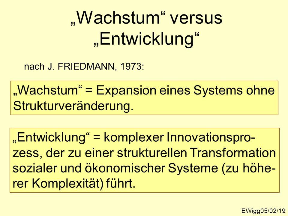 Wachstum versus Entwicklung EWigg05/02/19 nach J. FRIEDMANN, 1973: Wachstum = Expansion eines Systems ohne Strukturveränderung. Entwicklung = komplexe