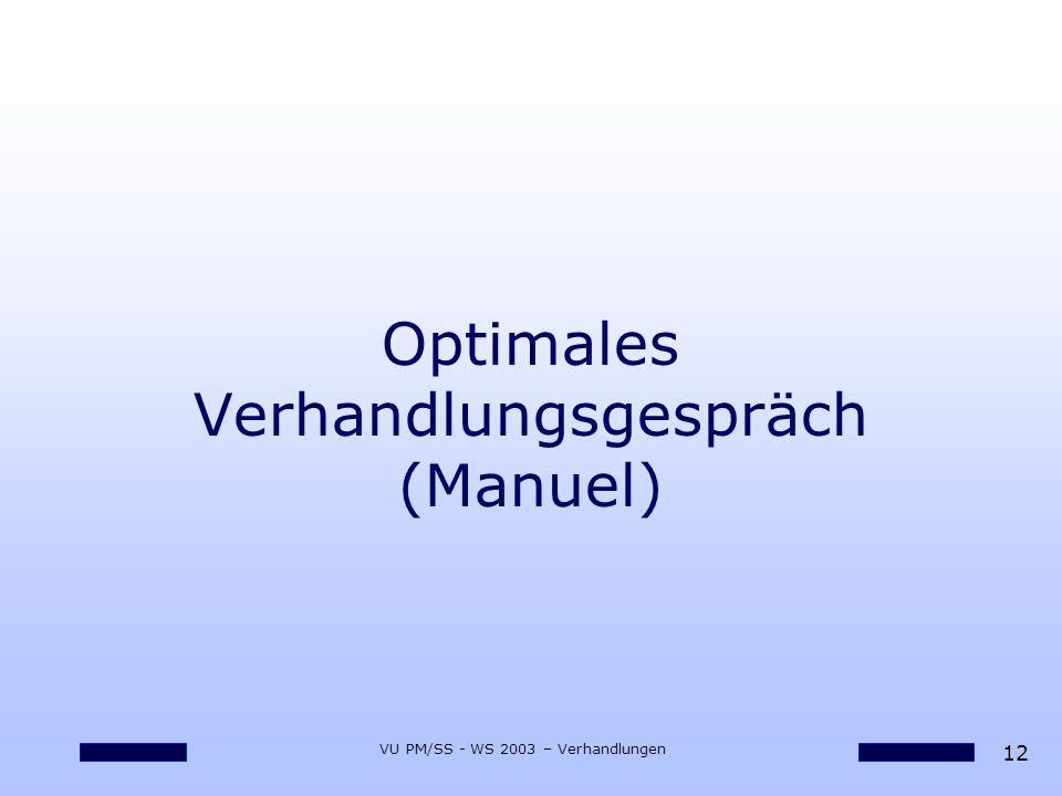 12 VU PM/SS - WS 2003 – Verhandlungen Optimales Verhandlungsgespräch (Manuel)