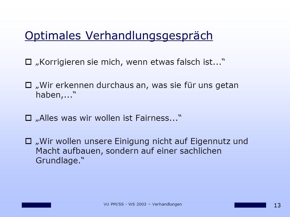 13 VU PM/SS - WS 2003 – Verhandlungen Optimales Verhandlungsgespräch oKorrigieren sie mich, wenn etwas falsch ist... oWir erkennen durchaus an, was si