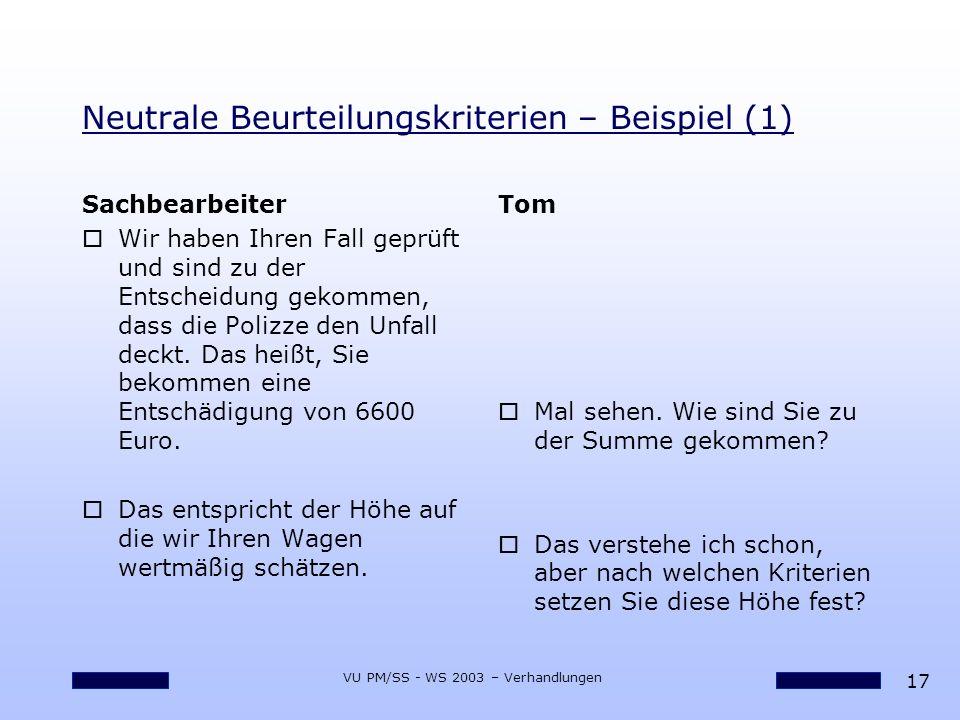 17 VU PM/SS - WS 2003 – Verhandlungen Neutrale Beurteilungskriterien – Beispiel (1) Sachbearbeiter oWir haben Ihren Fall geprüft und sind zu der Entsc