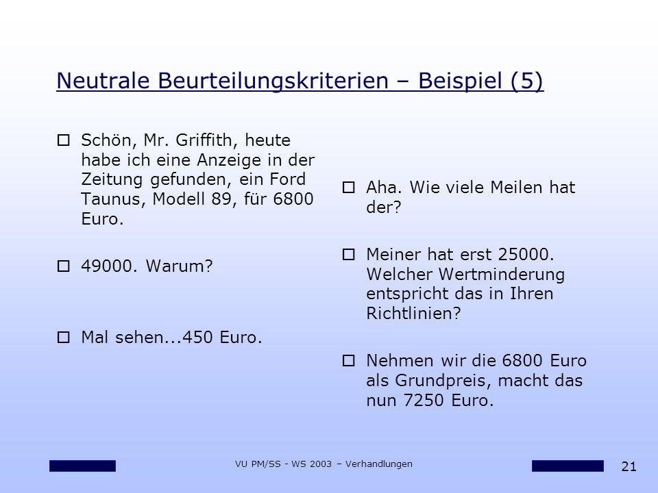 21 VU PM/SS - WS 2003 – Verhandlungen Neutrale Beurteilungskriterien – Beispiel (5) oSchön, Mr. Griffith, heute habe ich eine Anzeige in der Zeitung g
