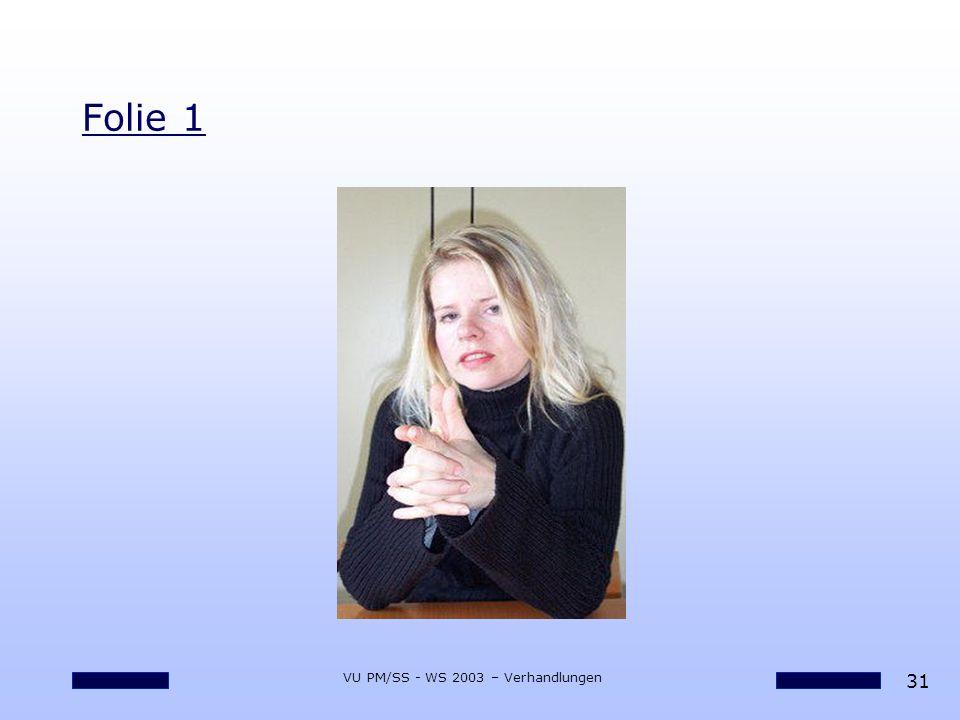 31 VU PM/SS - WS 2003 – Verhandlungen Folie 1