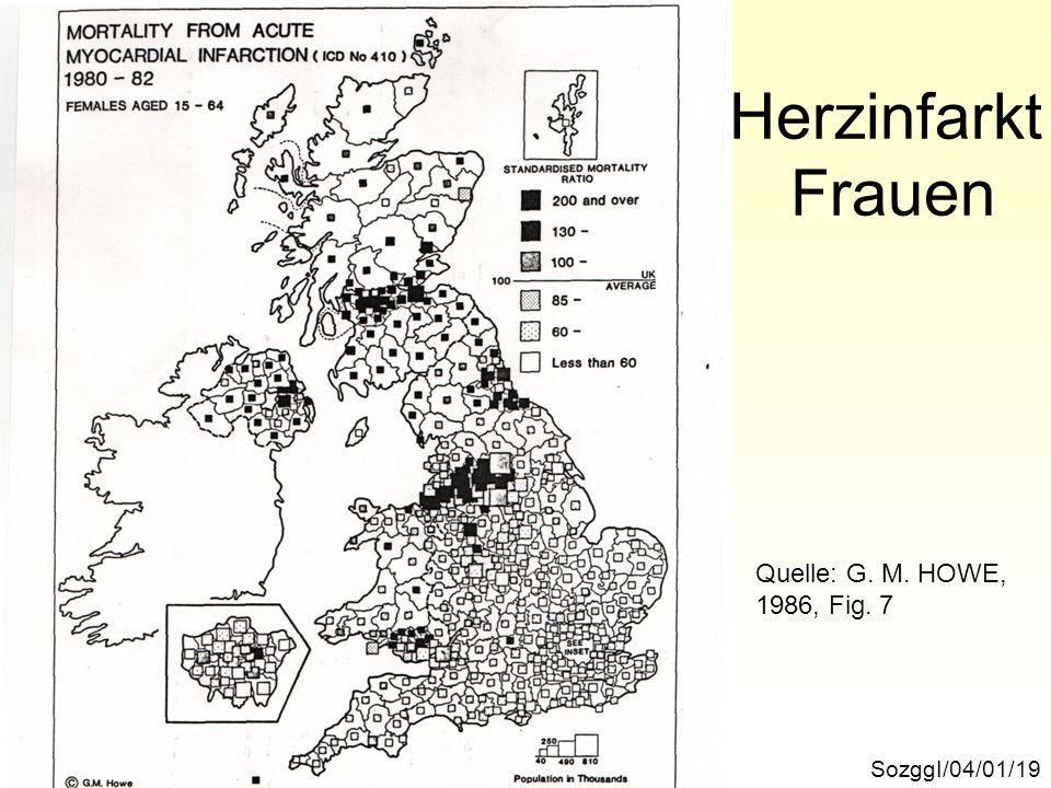Herzinfarkt Frauen SozggI/04/01/19 Quelle: G. M. HOWE, 1986, Fig. 7