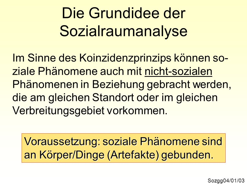 Die Grundidee der Sozialraumanalyse Sozgg04/01/03 Im Sinne des Koinzidenzprinzips können so- ziale Phänomene auch mit nicht-sozialen Phänomenen in Bez