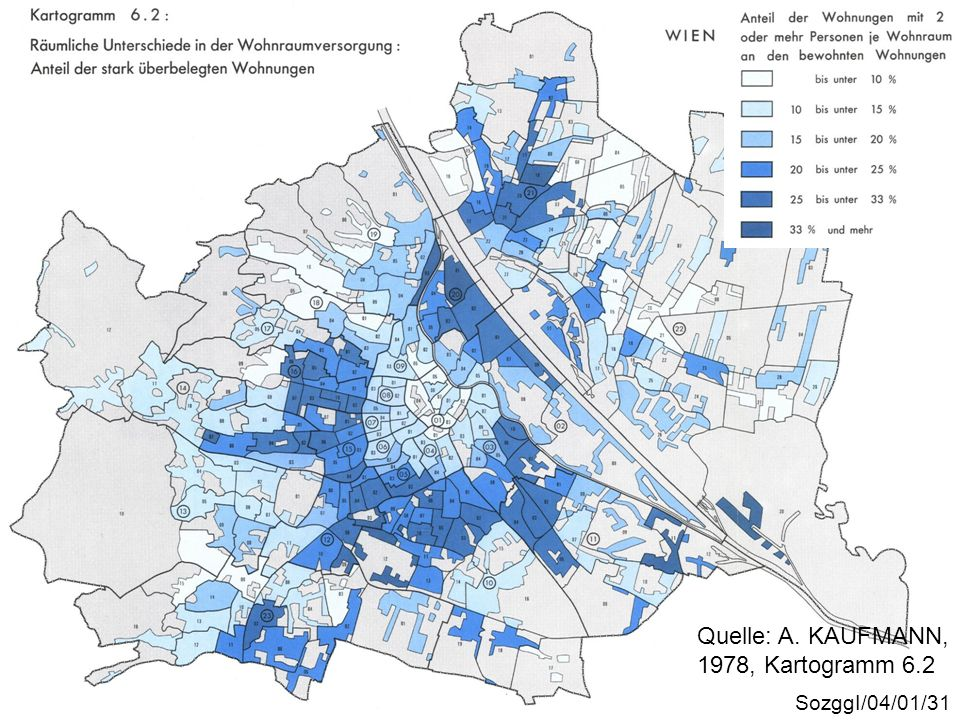 Überbelegung SozggI/04/01/31 Quelle: A. KAUFMANN, 1978, Kartogramm 6.2