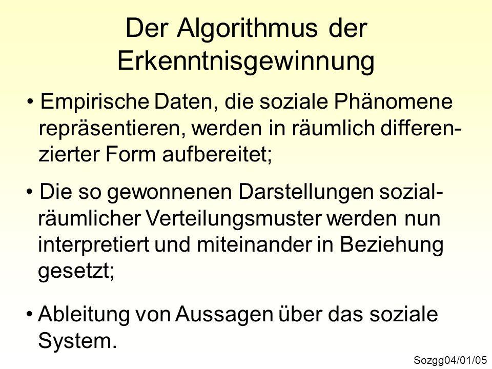 Sozgg04/01/06 Zwei Haupttypen von Aussagen Soziale Systeme werden durch räumliche Attribute gekennzeichnet: Gruppe a besitzt die Eigenschaft, im Gebiet x ge- ballt vorzukommen.