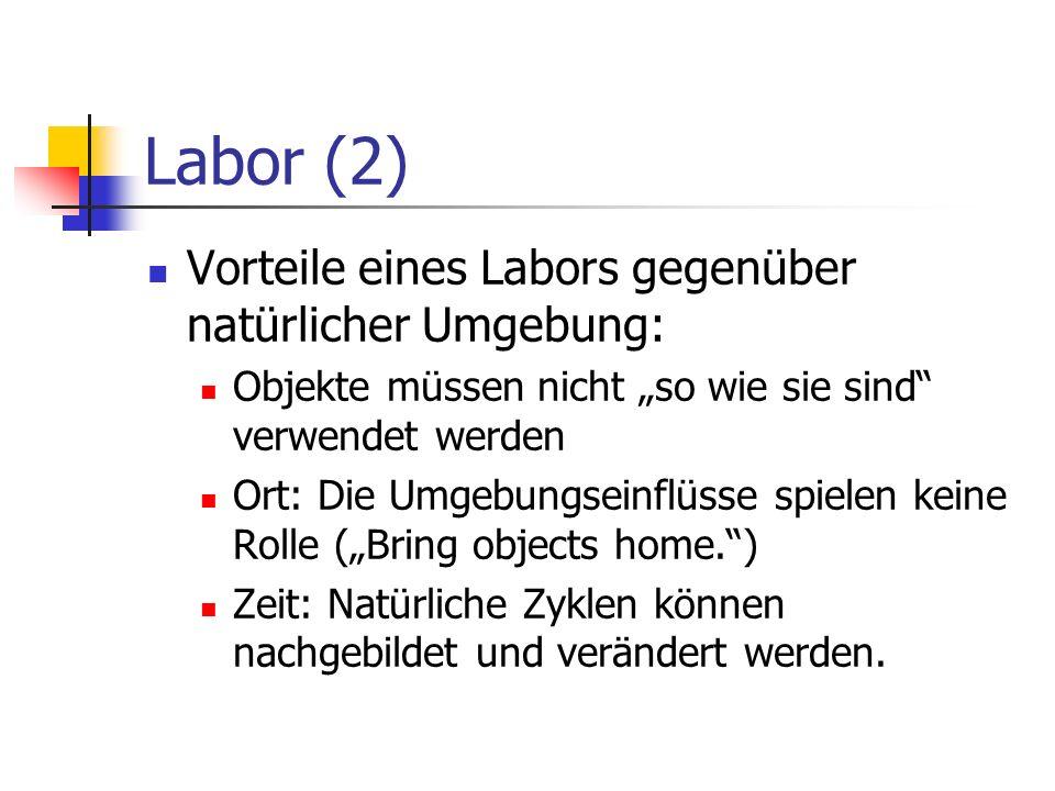 Labor (2) Vorteile eines Labors gegenüber natürlicher Umgebung: Objekte müssen nicht so wie sie sind verwendet werden Ort: Die Umgebungseinflüsse spie
