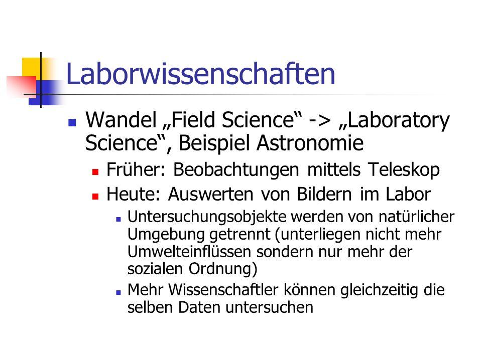 Laborwissenschaften Wandel Field Science -> Laboratory Science, Beispiel Astronomie Früher: Beobachtungen mittels Teleskop Heute: Auswerten von Bilder