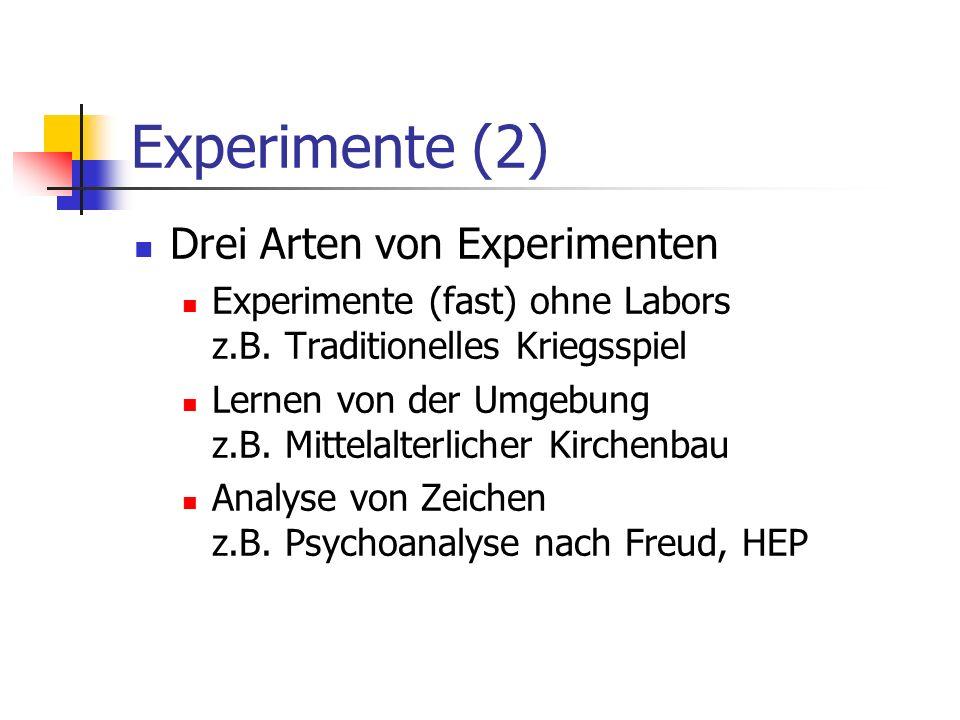 Experimente (2) Drei Arten von Experimenten Experimente (fast) ohne Labors z.B. Traditionelles Kriegsspiel Lernen von der Umgebung z.B. Mittelalterlic