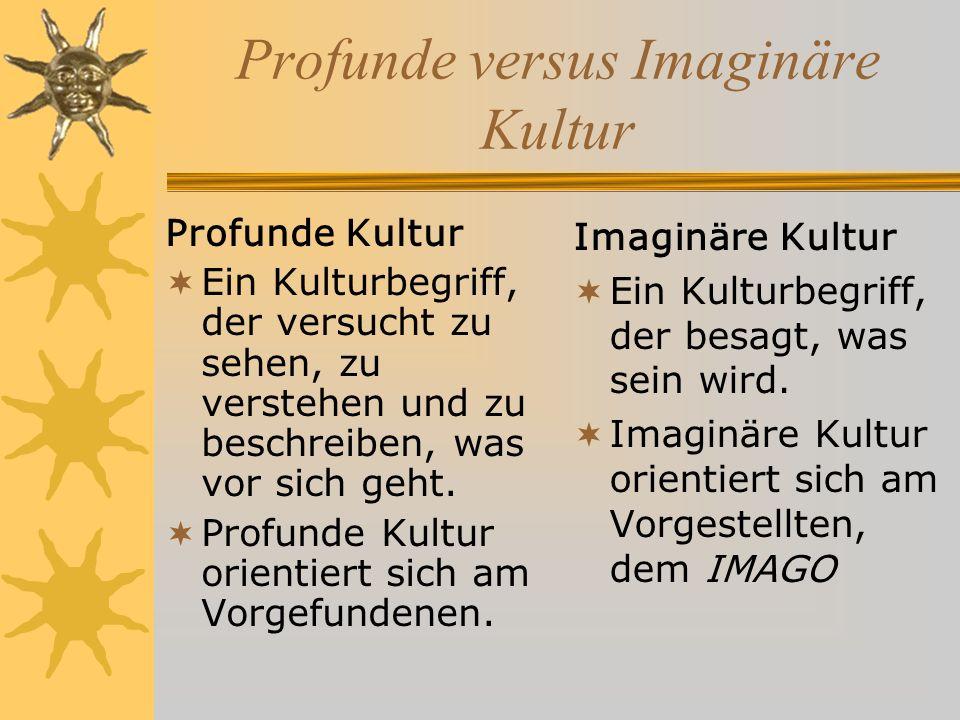 Profunde versus Imaginäre Kultur Profunde Kultur Ein Kulturbegriff, der versucht zu sehen, zu verstehen und zu beschreiben, was vor sich geht.