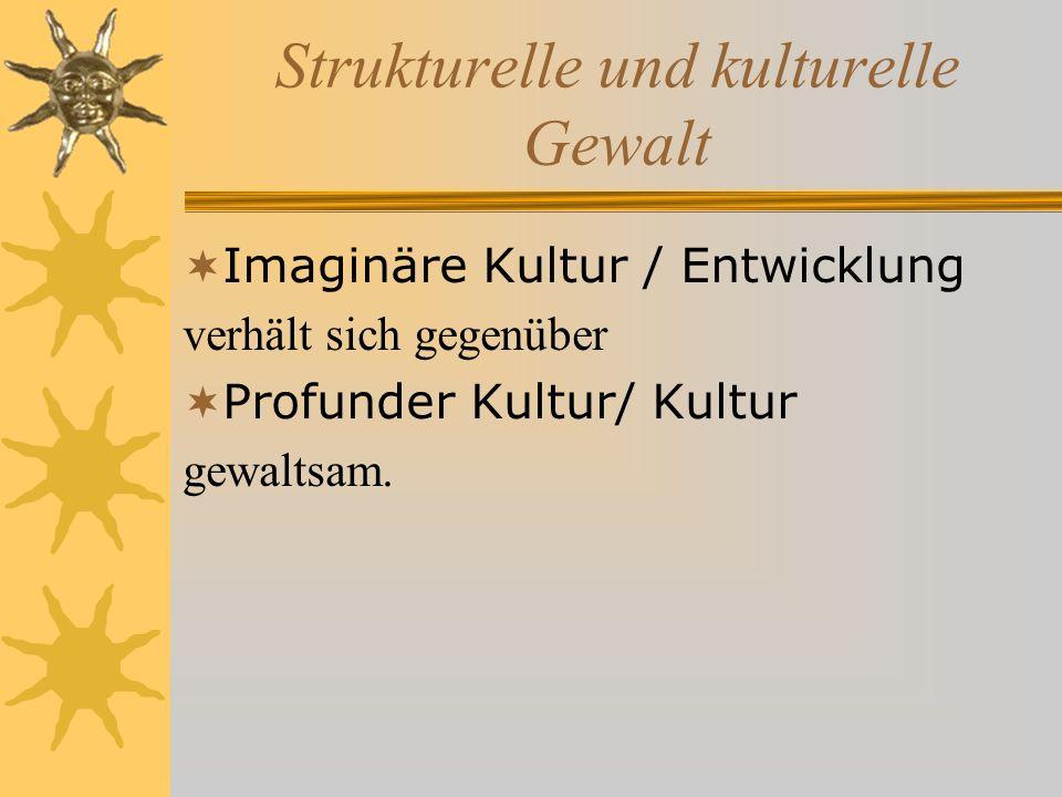 Strukturelle und kulturelle Gewalt Imaginäre Kultur / Entwicklung verhält sich gegenüber Profunder Kultur/ Kultur gewaltsam.