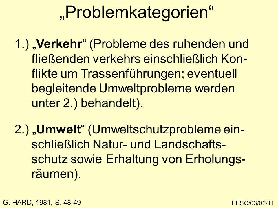 EESG/03/02/11 Problemkategorien 1.) Verkehr (Probleme des ruhenden und fließenden verkehrs einschließlich Kon- flikte um Trassenführungen; eventuell b