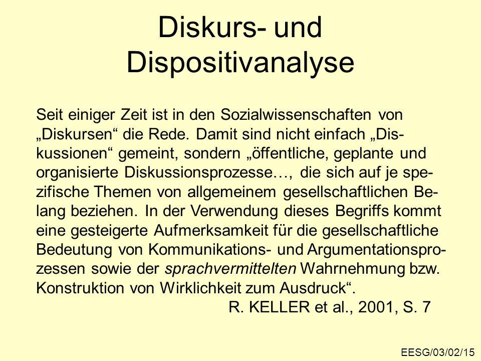 Diskurs- und Dispositivanalyse EESG/03/02/15 Seit einiger Zeit ist in den Sozialwissenschaften von Diskursen die Rede. Damit sind nicht einfach Dis- k