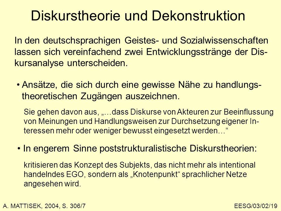 EESG/03/02/19 Diskurstheorie und Dekonstruktion In den deutschsprachigen Geistes- und Sozialwissenschaften lassen sich vereinfachend zwei Entwicklungs
