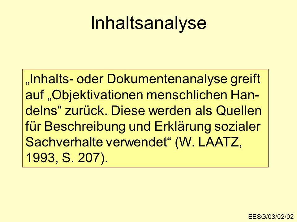 Inhaltsanalyse EESG/03/02/02 Inhalts- oder Dokumentenanalyse greift auf Objektivationen menschlichen Han- delns zurück. Diese werden als Quellen für B
