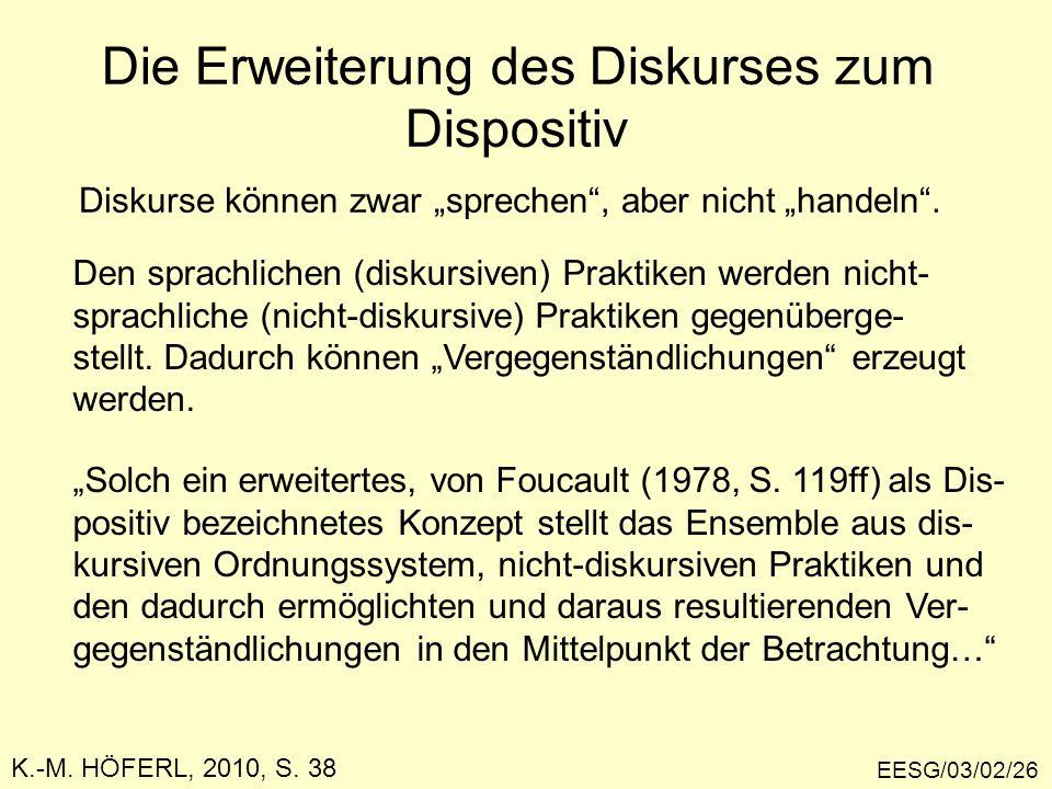 Die Erweiterung des Diskurses zum Dispositiv EESG/03/02/26 Diskurse können zwar sprechen, aber nicht handeln. K.-M. HÖFERL, 2010, S. 38 Den sprachlich