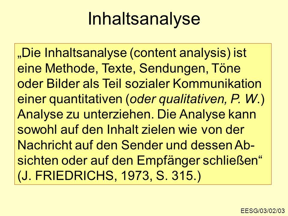 Inhaltsanalyse EESG/03/02/03 Die Inhaltsanalyse (content analysis) ist eine Methode, Texte, Sendungen, Töne oder Bilder als Teil sozialer Kommunikatio