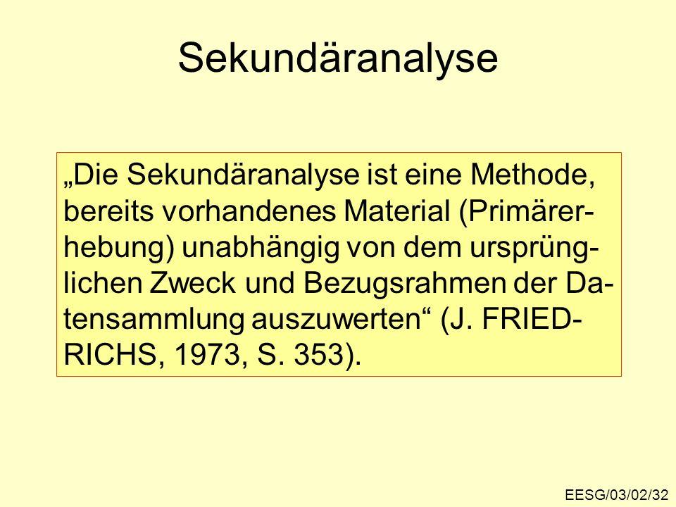 EESG/03/02/32 Sekundäranalyse Die Sekundäranalyse ist eine Methode, bereits vorhandenes Material (Primärer- hebung) unabhängig von dem ursprüng- liche