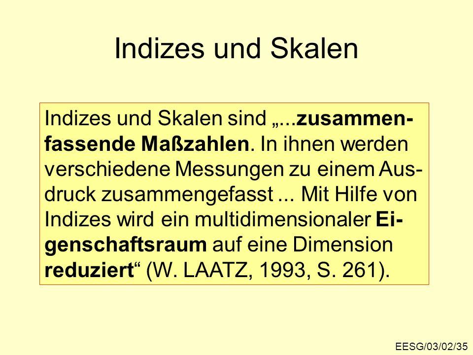 EESG/03/02/35 Indizes und Skalen Indizes und Skalen sind...zusammen- fassende Maßzahlen. In ihnen werden verschiedene Messungen zu einem Aus- druck zu