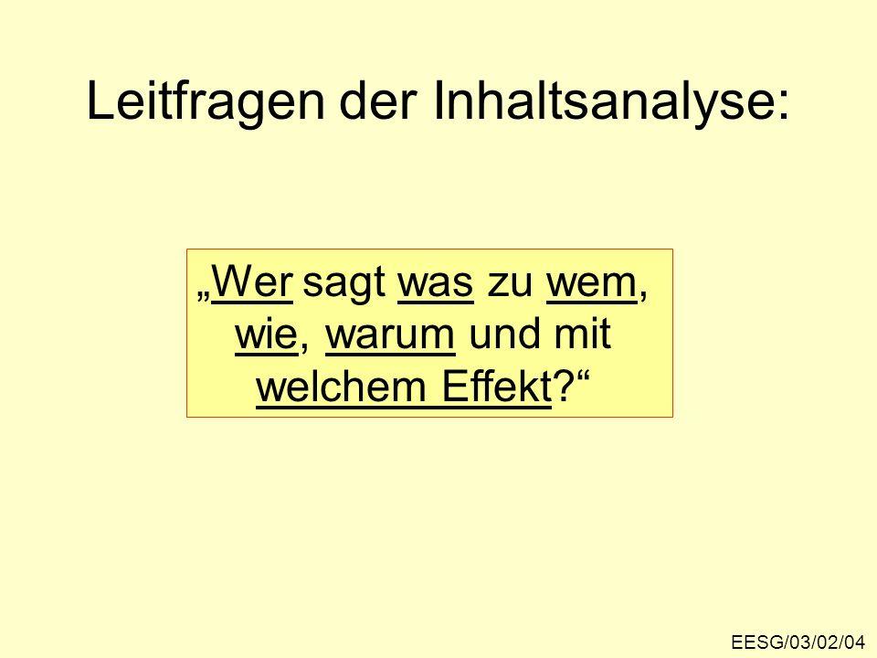 EESG/03/02/04 Leitfragen der Inhaltsanalyse: Wer sagt was zu wem, wie, warum und mit welchem Effekt?