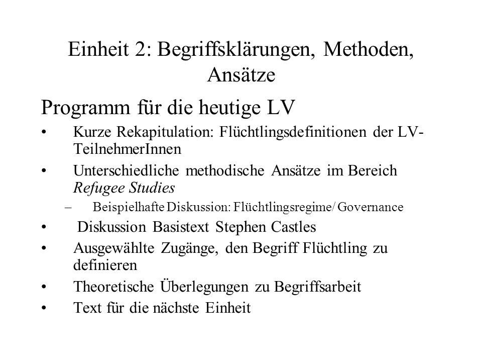 Einheit 2: Begriffsklärungen, Methoden, Ansätze Programm für die heutige LV Kurze Rekapitulation: Flüchtlingsdefinitionen der LV- TeilnehmerInnen Unte