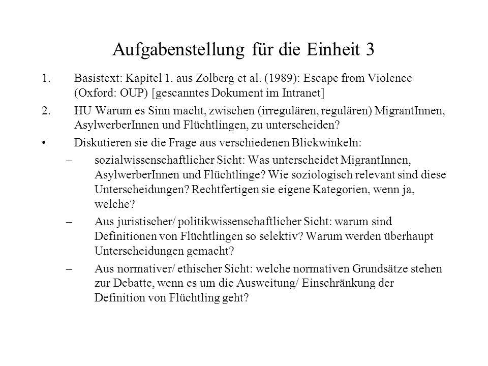 Aufgabenstellung für die Einheit 3 1.Basistext: Kapitel 1. aus Zolberg et al. (1989): Escape from Violence (Oxford: OUP) [gescanntes Dokument im Intra