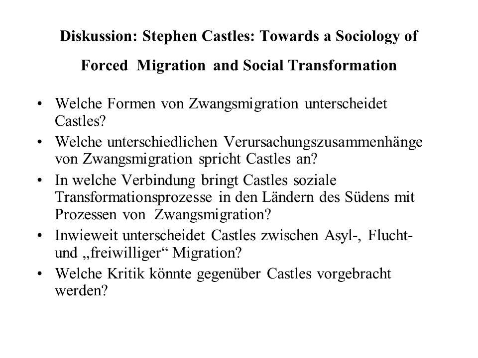 Diskussion: Stephen Castles: Towards a Sociology of Forced Migration and Social Transformation Welche Formen von Zwangsmigration unterscheidet Castles.