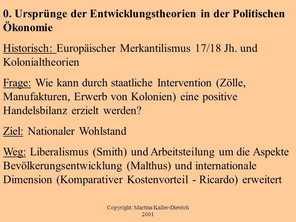 Copyright: Martina Kaller-Dietrich 2001 0. Ursprünge der Entwicklungstheorien in der Politischen Ökonomie Historisch: Europäischer Merkantilismus 17/1