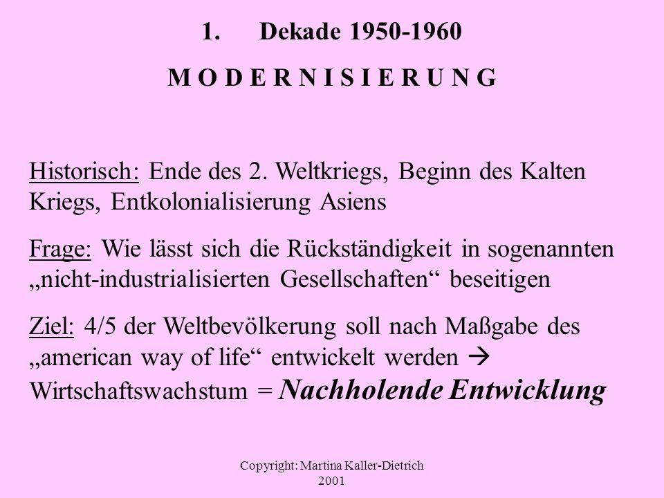Copyright: Martina Kaller-Dietrich 2001 1. Dekade 1950-1960 M O D E R N I S I E R U N G Historisch: Ende des 2. Weltkriegs, Beginn des Kalten Kriegs,