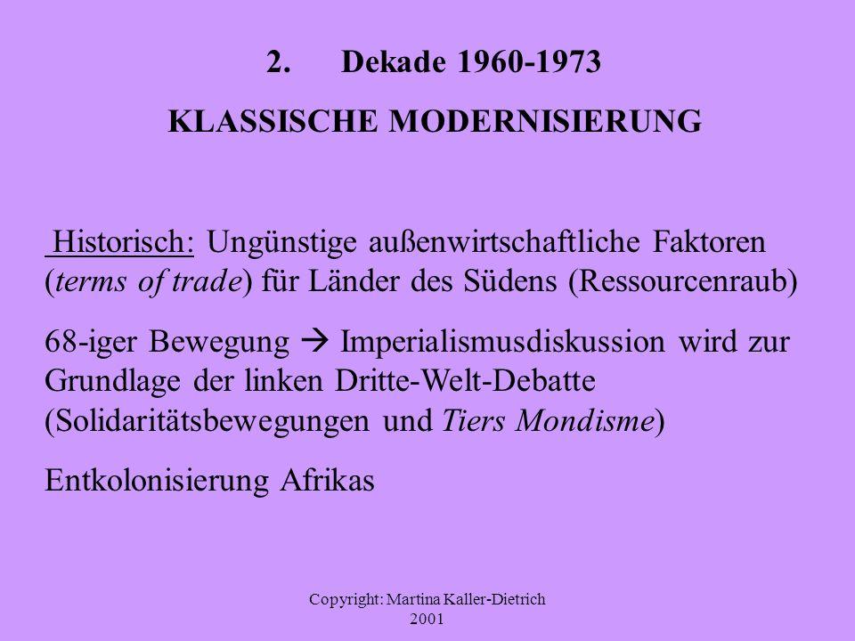 Copyright: Martina Kaller-Dietrich 2001 2. Dekade 1960-1973 KLASSISCHE MODERNISIERUNG Historisch: Ungünstige außenwirtschaftliche Faktoren (terms of t