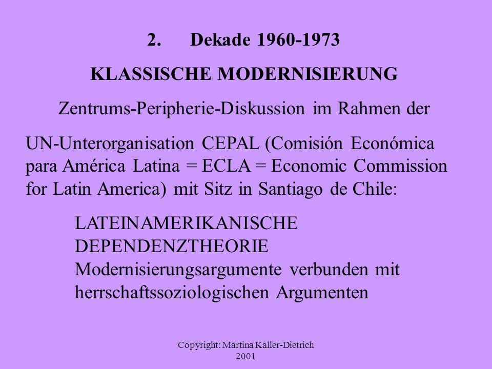 Copyright: Martina Kaller-Dietrich 2001 2. Dekade 1960-1973 KLASSISCHE MODERNISIERUNG Zentrums-Peripherie-Diskussion im Rahmen der UN-Unterorganisatio