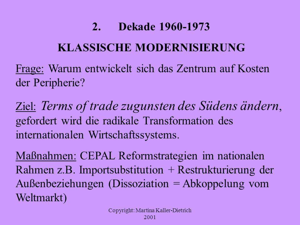 Copyright: Martina Kaller-Dietrich 2001 2. Dekade 1960-1973 KLASSISCHE MODERNISIERUNG Frage: Warum entwickelt sich das Zentrum auf Kosten der Peripher
