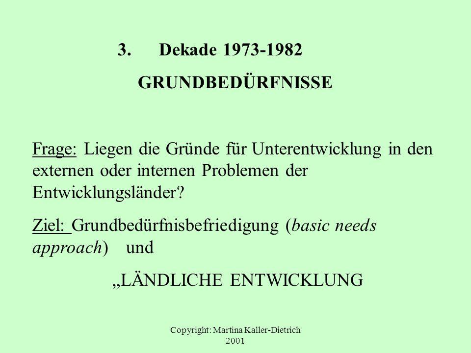 Copyright: Martina Kaller-Dietrich 2001 3. Dekade 1973-1982 GRUNDBEDÜRFNISSE Frage: Liegen die Gründe für Unterentwicklung in den externen oder intern