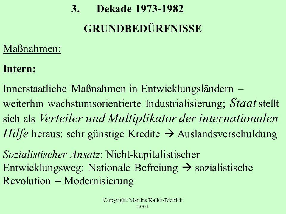 Copyright: Martina Kaller-Dietrich 2001 3. Dekade 1973-1982 GRUNDBEDÜRFNISSE Maßnahmen: Intern: Innerstaatliche Maßnahmen in Entwicklungsländern – wei