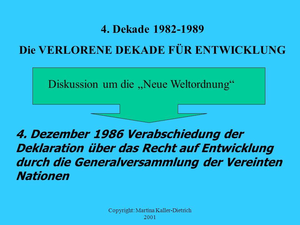 Copyright: Martina Kaller-Dietrich 2001 4. Dekade 1982-1989 Die VERLORENE DEKADE FÜR ENTWICKLUNG 4. Dezember 1986 Verabschiedung der Deklaration über