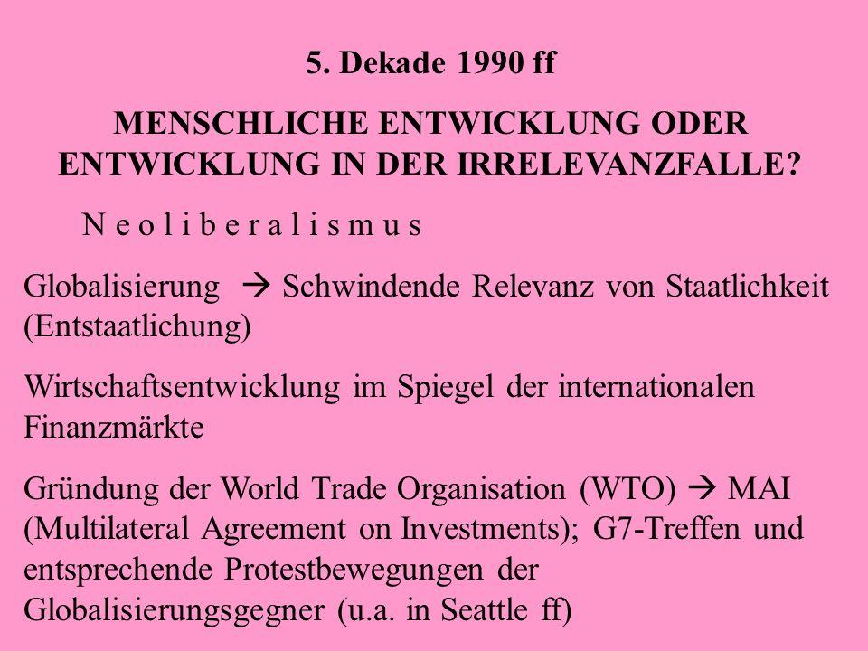 5. Dekade 1990 ff MENSCHLICHE ENTWICKLUNG ODER ENTWICKLUNG IN DER IRRELEVANZFALLE? N e o l i b e r a l i s m u s Globalisierung Schwindende Relevanz v