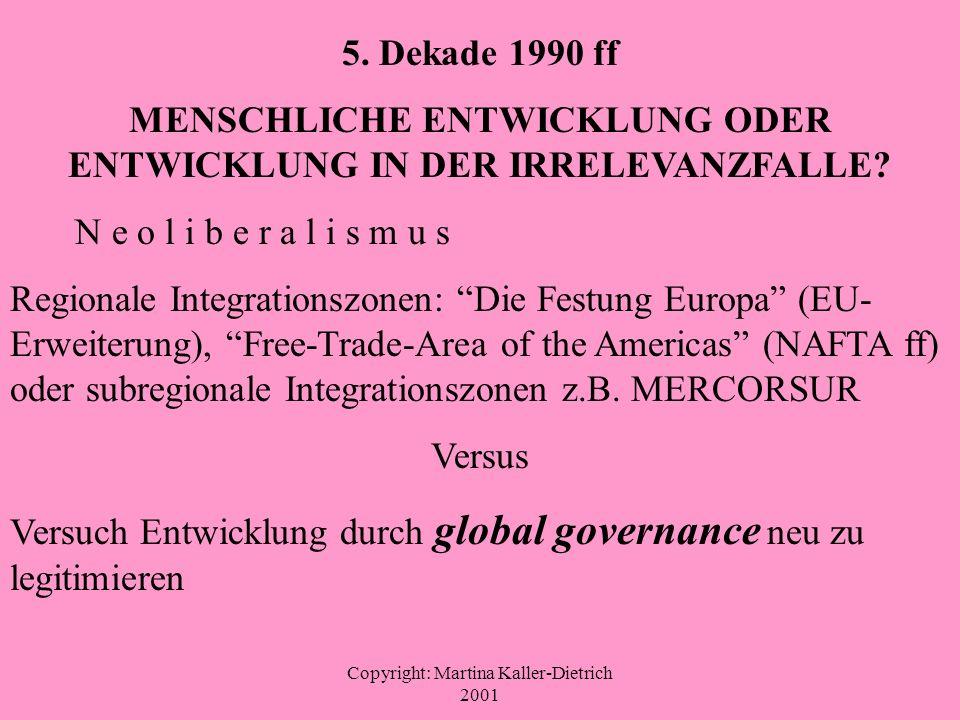Copyright: Martina Kaller-Dietrich 2001 5. Dekade 1990 ff MENSCHLICHE ENTWICKLUNG ODER ENTWICKLUNG IN DER IRRELEVANZFALLE? N e o l i b e r a l i s m u