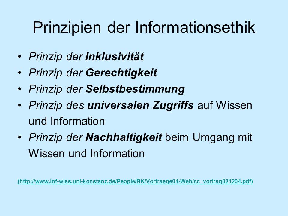Prinzipien der Informationsethik Prinzip der Inklusivität Prinzip der Gerechtigkeit Prinzip der Selbstbestimmung Prinzip des universalen Zugriffs auf