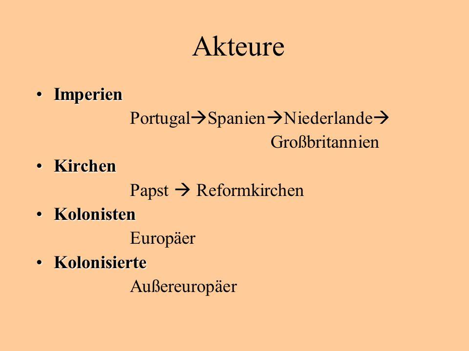 Akteure ImperienImperien Portugal Spanien Niederlande Großbritannien KirchenKirchen Papst Reformkirchen KolonistenKolonisten Europäer KolonisierteKolonisierte Außereuropäer