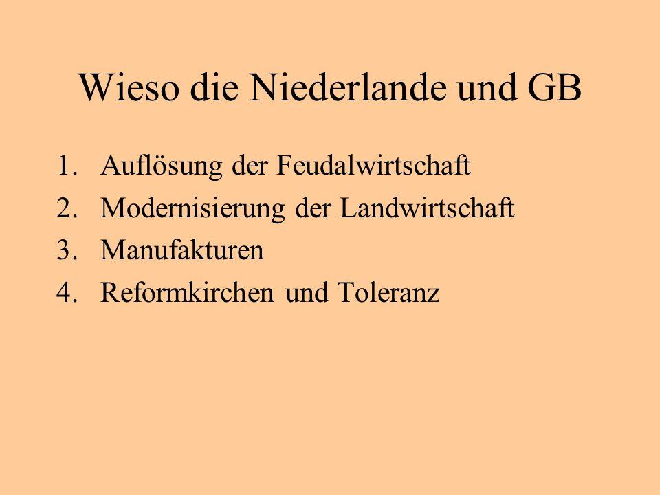 Wieso die Niederlande und GB 1.Auflösung der Feudalwirtschaft 2.Modernisierung der Landwirtschaft 3.Manufakturen 4.Reformkirchen und Toleranz