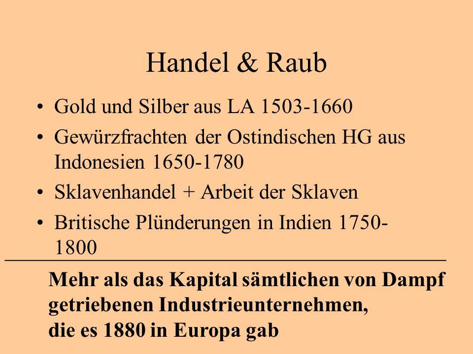 Handel & Raub Gold und Silber aus LA 1503-1660 Gewürzfrachten der Ostindischen HG aus Indonesien 1650-1780 Sklavenhandel + Arbeit der Sklaven Britische Plünderungen in Indien 1750- 1800 ________________________________________________________ Mehr als das Kapital sämtlichen von Dampf getriebenen Industrieunternehmen, die es 1880 in Europa gab