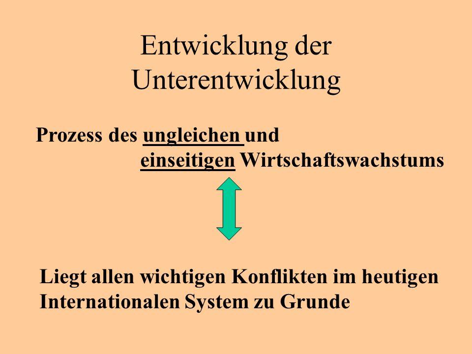 Entwicklung der Unterentwicklung Prozess des ungleichen und einseitigen Wirtschaftswachstums Liegt allen wichtigen Konflikten im heutigen Internationalen System zu Grunde